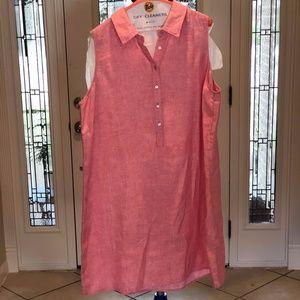 Sleeveless 100% Linen Shift Dress By Tahari